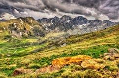 Widok Pyrenees zbliża El Pas De Los angeles Casa Zdjęcia Royalty Free