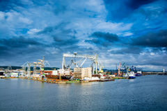 Widok quay stocznia i port Fotografia Royalty Free