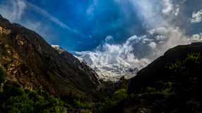 Widok Rakaposhi szczyt, Karakorum góry Pakistan Zdjęcie Stock