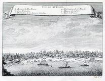 Widok Refisco Rufisco i rzeka, Z kości słoniowej wybrzeże, Afryka 1753 Fotografia Stock