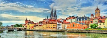 Widok Regensburg z Danube rzeką w Niemcy Obraz Stock
