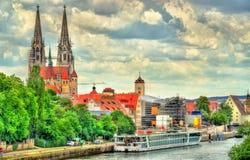 Widok Regensburg z Danube rzeką w Niemcy Obraz Royalty Free