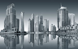 Widok region Dubaj, Dubaj Marina - Obraz Royalty Free
