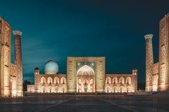 Widok Registan kwadrat przy nocą w Samarkand Uzbekistan obrazy royalty free
