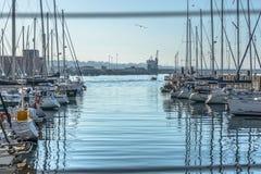 Widok rekreacyjne i intymne łodzie w Leca da Palmeira marina obrazy royalty free