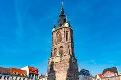 Widok rewolucjonistki wierza, Roter Turm w Halle Saale, Niemcy Zdjęcie Stock