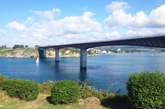 Widok Ribadeo most w Galicia Obraz Royalty Free