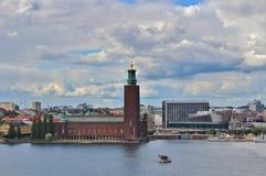 Widok Riddarfjärden w kierunku urzędu miasta Obraz Royalty Free