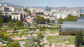 Widok Rike park z służbą publiczną Hall w Tbilisi, Gruzja zbiory