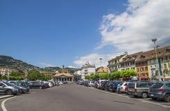 Widok Riviera 's Jeziorny Genewa przy Vevey Zdjęcie Stock