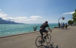Widok Riviera 's Jeziorny Genewa przy Vevey Zdjęcia Stock
