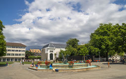 Widok Riviera 's Jeziorny Genewa przy Vevey Obraz Stock