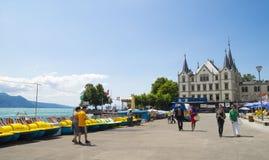 Widok Riviera 's Jeziorny Genewa przy Vevey Fotografia Royalty Free