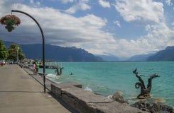 Widok Riviera 's Jeziorny Genewa przy Vevey Zdjęcia Royalty Free