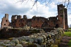 Widok ruiny Penrith kasztel - punkty zwrotni w Penrith, Cumbria fotografia royalty free