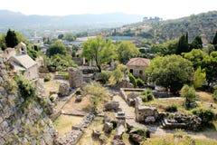 Widok ruiny stary forteca i otaczanie krajobraz w mieście bar, Montenegro zdjęcie royalty free