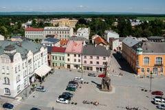 Widok rynek w Litovel od urzędu miasta wierza Obrazy Stock