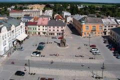 Widok rynek w Litovel od urzędu miasta wierza Zdjęcie Royalty Free