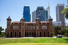 Widok rzędu dom z Perth centrali dzielnicą biznesu Fotografia Stock