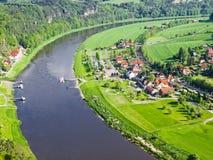 Widok rzeczny Elbe, Saxony, Niemcy Zdjęcie Stock
