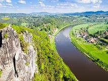 Widok rzeczny Elbe, Saxony, Niemcy Fotografia Royalty Free