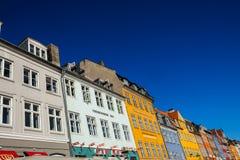 Widok Sławny Nyhavn w lecie, Kopenhaga, Dani data: Wrzesień 2016 Zdjęcie Stock