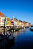 Widok Sławny Nyhavn w lecie, Kopenhaga, Dani data: Wrzesień 2016 Fotografia Royalty Free