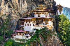 Widok Sławnych tygrysów Gniazdowa świątynia w Bhutan Fotografia Stock