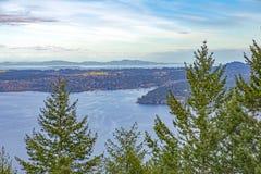 Widok Saanich wpust od Malahat szczytu w Vancouver wyspie, Kanada zdjęcie stock