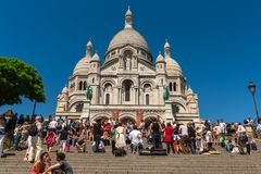 Widok Sacre Coeur bazyliki katedra, Montmartre Paryż Fotografia Royalty Free