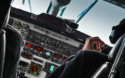Widok samolotowy kokpit i pilot Fotografia Stock