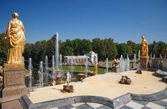 Widok Samson fontanna od tarasu obraz stock