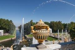 Widok Samson fontanna od tarasu fotografia stock