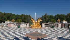 Widok Samson fontanna od tarasu zdjęcie stock