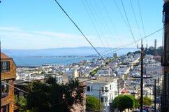 Widok San Fransisco zatoka i Coit wierza Zdjęcie Royalty Free