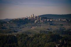 Widok San Gimignano UNESCO światowego dziedzictwa miejsce obraz stock