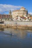 Widok San Prudencio, Tagus rzeka, kajakarki, Talavera, Obraz Stock