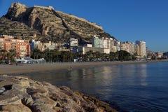 Widok Santa Barbara kasztel w Alicante, Hiszpania Obraz Stock