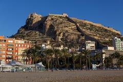 Widok Santa Barbara kasztel w Alicante, Hiszpania Zdjęcia Stock