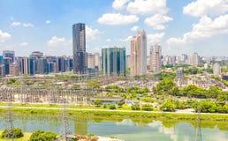 Widok Sao Paulo i rzeka Obrazy Royalty Free