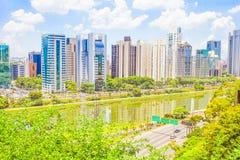 Widok Sao Paulo i rzeka Zdjęcia Royalty Free