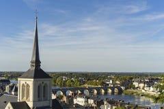 Widok Saumur miasto, Francja fotografia royalty free