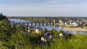 Widok Saumur miasto, Francja zdjęcia stock