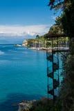 Widok schody, Corfu wyspa, Grecja Obrazy Royalty Free