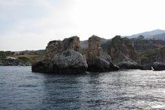 Widok Scopello od łodzi Zdjęcie Stock