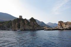 Widok Scopello od łodzi Zdjęcie Royalty Free