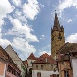 Widok Sibiu górny miasteczko od niskiego miasteczka zdjęcia stock