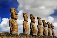 Widok siedem Ahu Akivi Moai Zdjęcia Royalty Free
