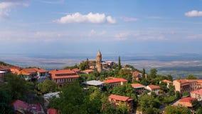 Widok Sighnaghi stary miasteczko w Kakheti regionie, Gruzja (Signagi) Fotografia Stock