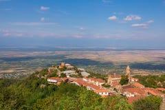 Widok Sighnaghi stary miasteczko w Kakheti regionie, Gruzja (Signagi) Zdjęcia Stock